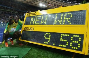 Usain Bolt posing with his new World Record