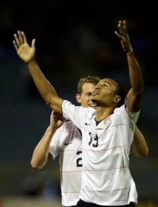 Ricardo Clark celebrates his goal against Trinidad and Tobago
